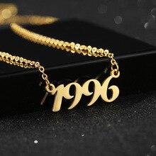 Специальный персонализированный номер года сеть кулон ожерелья пользовательские цифровой дата ювелирные изделия подарок для любовника ожерелье
