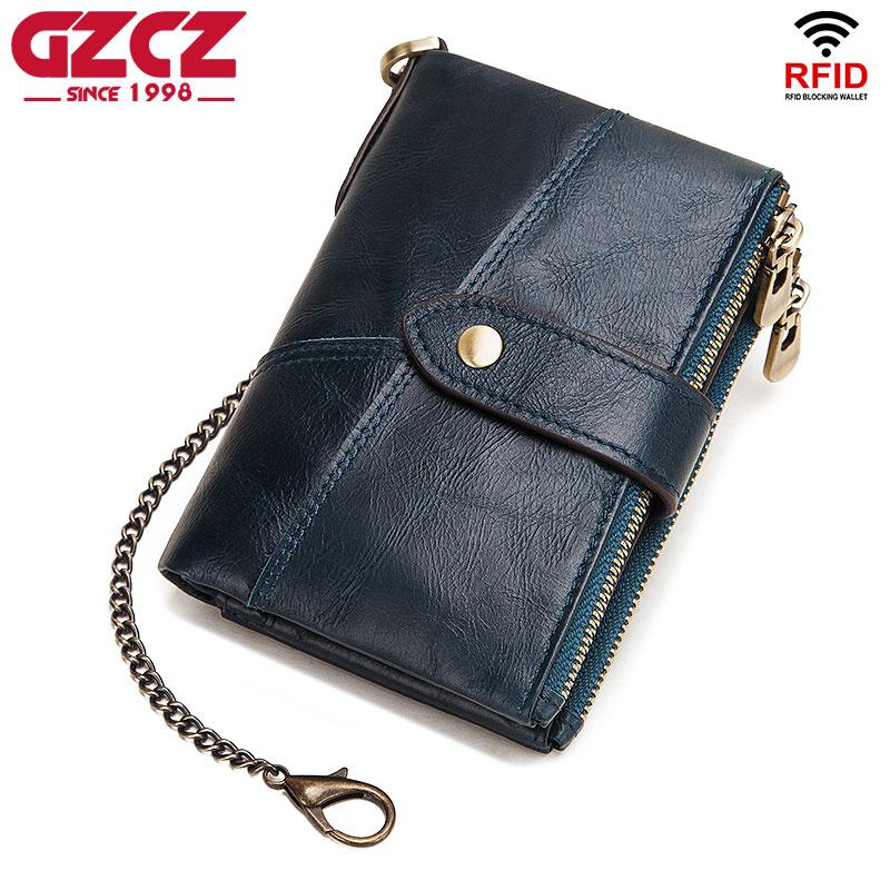 Rfid Men`s Wallet Quality Genuine Leather Women Wallet Men Casual Wallet Fashion Chain Men Wallet Women`s Leather Wallet