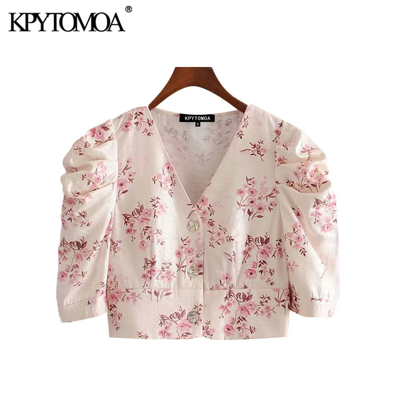 KPYTOMOA Women 2020 Fashion Floral Print Buttons Cropped Blouses Vintage V Neck Puff Sleeve Female Shirts Blusas Chic Tops