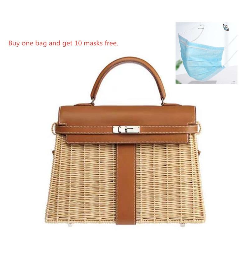 Women's Bag Luxury Handbags Rattan Straw Crossbody Bags For Women Genuine Leather Beach Bags Original Brand Designer 2019 Femme