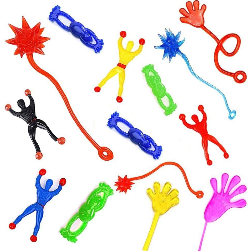 6Pcs Sticky Hands Meteor Hammer Wall Climber Frog Prank Gadgets Mini Toys Lot For Kids Children Party Favors