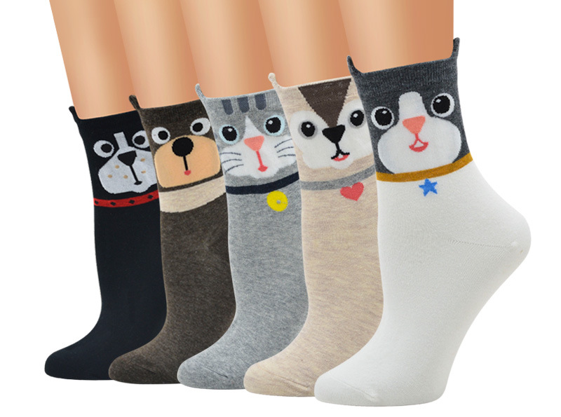 Three Dimensional Cute Paparazzi Pattern Girl Cotton Socks Cartoon Cotton Female Retro Personality Trend Tube Socks