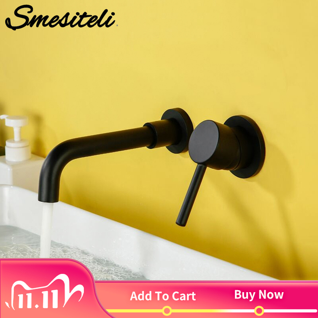 Bathroom Sink Basin Faucet Bath Mixer Tap Wall Mount Brass Matt Black With Single Handle Hot Cold Water White Rose Gold Set