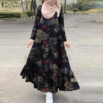 Women s Autumn Sundress ZANZEA 2021 Turkish Printed Ruffle Dress Vintage Floral Maxi Vestidos Dubai