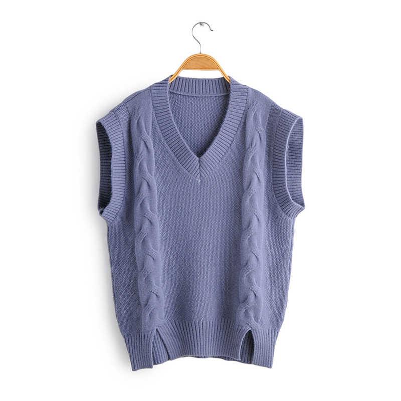 추 Sau 아름다움 2019 새로운 패션 가을 겨울 따뜻한 민소매 스웨터 여성 캐주얼 스타일 처분 니트 조끼 여성