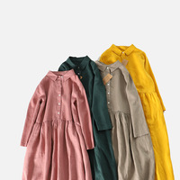 Spring Autumn New Arrivals Women Loose Japanese Style Mori Girl Soft Comfortable Water Washed 14*14 Linen Shirt Dresses 4 Colors