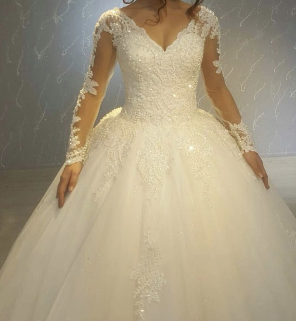 Vestido De Noiva Ball Gown Wedding Dress Robe De Mariee Sexy V Neck Wedding Dresses 2018 Long Sleeves Lace-up Bridal Gowns Dress