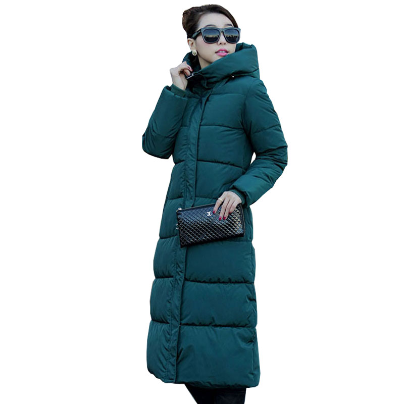 Colorful Hooded Winter Down Coat Jacket Long Thick Warm Women Casaco Feminino Abrigos Mujer Invierno Wadded Cotton Padded Parkas
