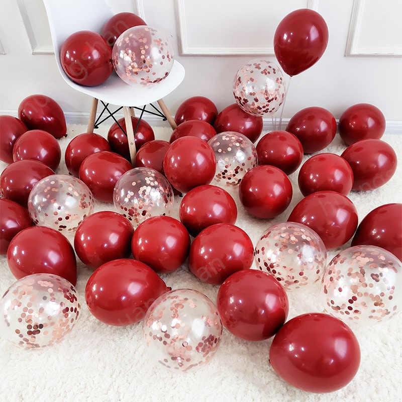 Balões de confete metálicos para decorar, balões de confete vermelhos, de látex, metálicos, cromados, de peça para aniversário e casamento com 10 peças
