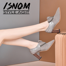 Suede Shoes Pumps ISNOM Wood-Heels Hoof Patchwork Bowtie