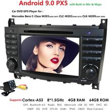 DSP IPS 8 çekirdekli Android 10 GPS navigasyon araç DVD oynatıcı player için Mercedes Benz C 2004 2007 W203 CLC 2008 2010 CLK W209 2005 2011