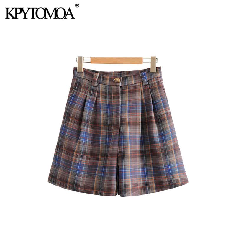 Vintage Chic Office Wear Plaid Pockets Shorts Women 2020 Fashion High Waist Zipper Fly Female Short Pants Pantalones Cortos