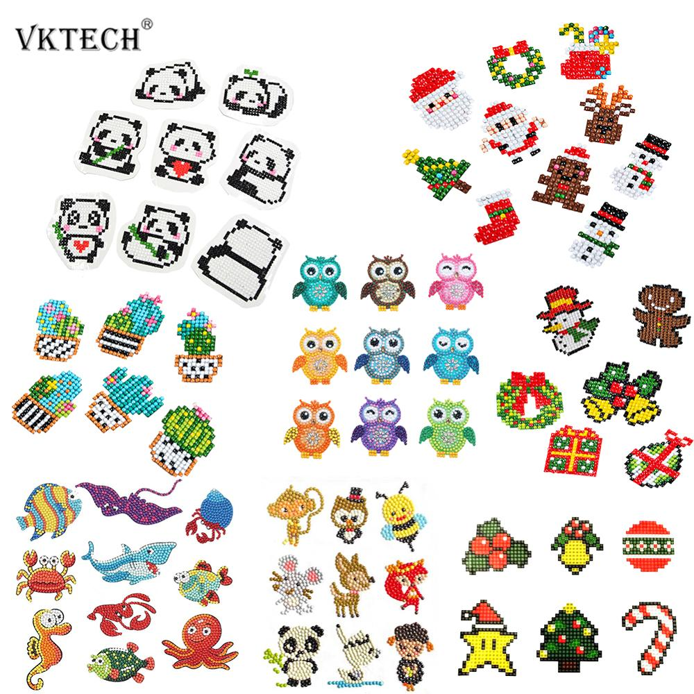 DIY Animals Kids Round Diamond Painting Stickers Full Drill Diamond Painting Kits Embroidery Cross Stitch Manual DIY Tools