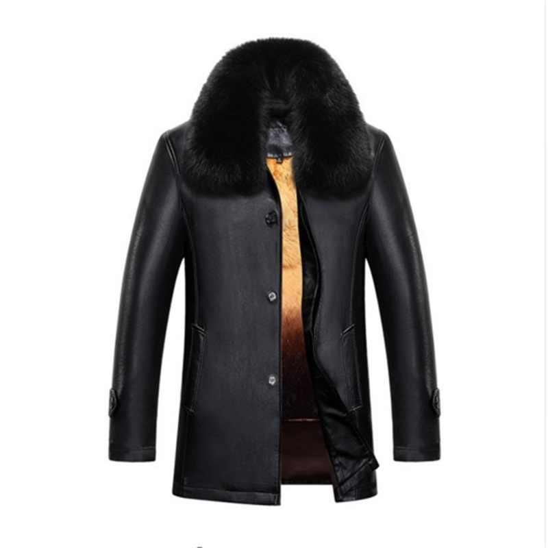 新しい男性本物のジャケットの冬の毛皮のシープスキンのコートのための男性のブランドのジャケットの男性固体ターンダウン襟天然皮革ジャケット