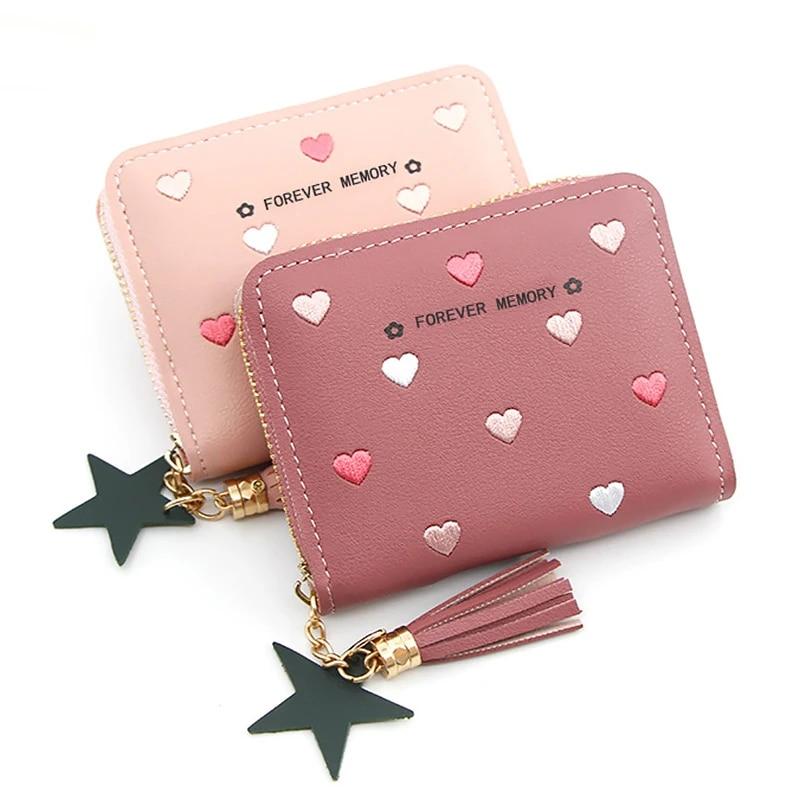 Cute Coin Purse Zip Pouch hearts stars pink