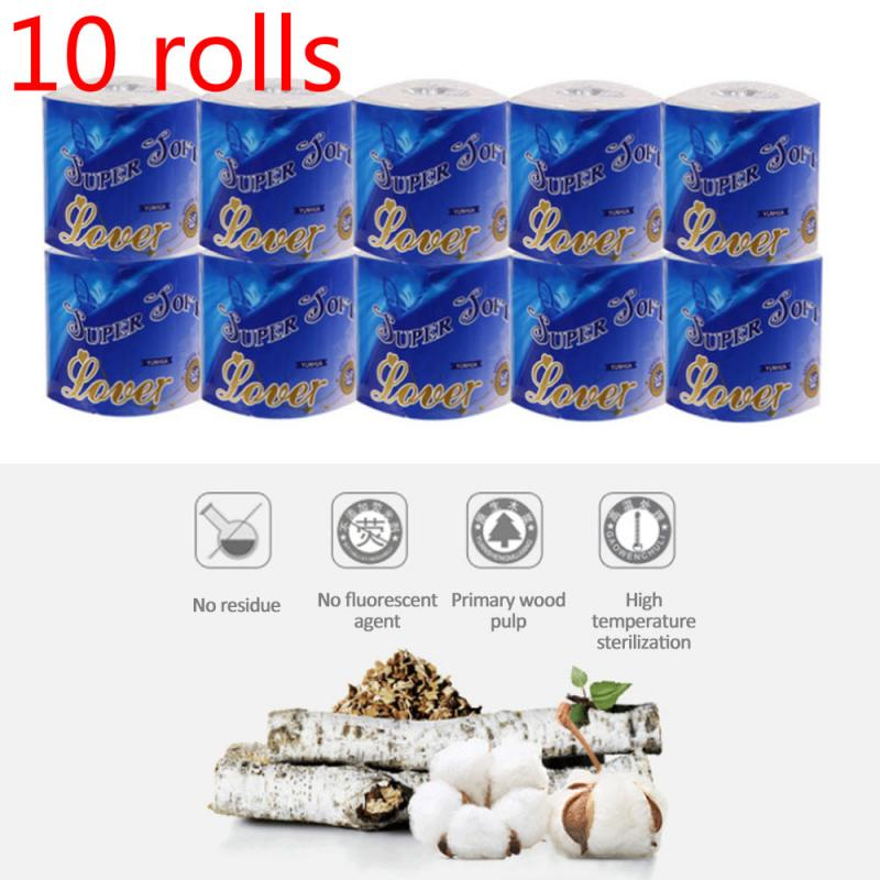 US 10 Roll 3-Ply Toilet Paper Soft Skin-friendly Paper Roll Towels Professional Series Home Kitchen Toilet Tissue Fast Shopping