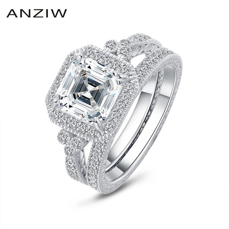 AINUOSHI 3 Carats Asscher coupe Halo bague ensemble simulé diamant fiançailles mariage en argent Sterling bague ensemble bijoux pour femmes