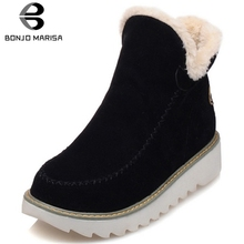 Winter Snow Boots Women Ankle Solid Round Toe Platform Shoes Flats Concise Style Warm Fur Casual