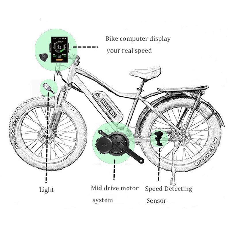 Image 5 - 48V 1000W BBSHD Bafang Motor Ebike Kit BBS03 BBS03B Electric Bicycle Conversion Kit 8fun Powerful 1000w Mid Drive Engine SetElectric Bicycle Motor   -