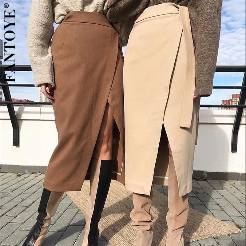 FANTOYE Khaki Suede Midi Skirt Women Autumn Winter Casual Wrap Bodycon Bandage Skirt High Waist Official Ladies Skirts With Belt