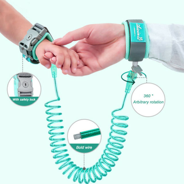 1.5-2.5m Children Leash Anti-lost Wrist Link Traction Rope Kids Safety Harness Adjustable Baby Walker Wristband 3