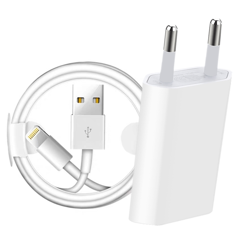 Kit EU Plug USB Wall Charger + USB Charging Cable For IPhone X XS Max XR 8 7 6 6S Plus 5S 5 SE Mobile Phone USB Chargers Cables