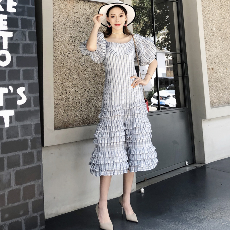 WE96702L  DEAT 2020 new straps ruffles off the shoulder high waist covered hips linen and stain high quality fashion dress