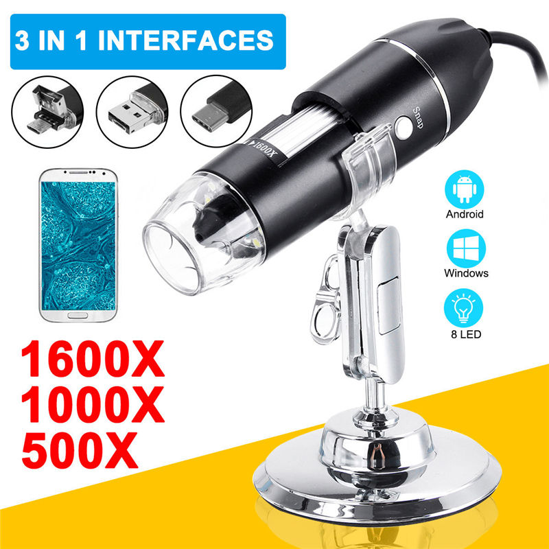 500X 1000X 1600X Digital Microscope 8 LED 3 In 1 Endoscope Micro USB Type-c Zoom Magnifier Camera Stand Holder