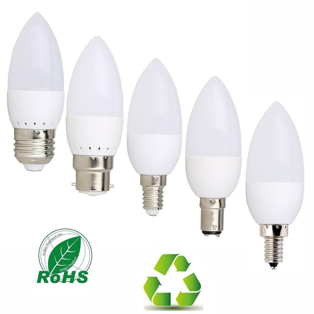 Светодиодная лампа-свеча 3 Вт E14 E27 E12 B22 B15 110 В 220 В 2835 SMD, лампа-свеча, лампа для домашнего освещения, сменные галогенные лампы 20 Вт