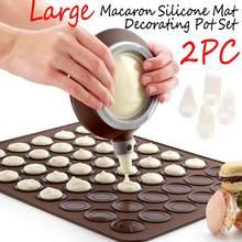 2 pc/set grande macaroon kit macaron silicone esteira antiaderente conjunto de molde de cozimento 48 capacidade macaron pot bolo decoração suprimentos