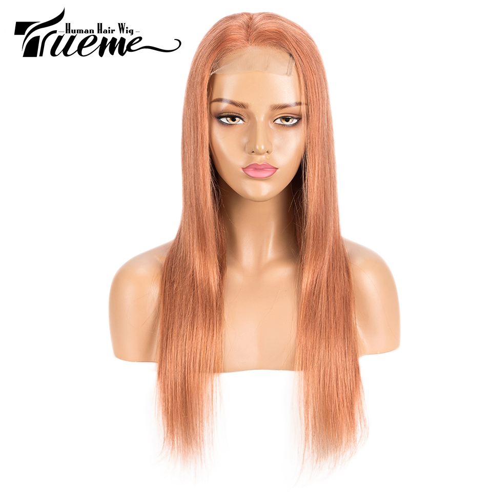 Trueme Orange Blonde 4x4 Lace Closure Wig Pre Plucked With Baby Hair Brazilian Remy Straight Lace Front Human Hair Wigs