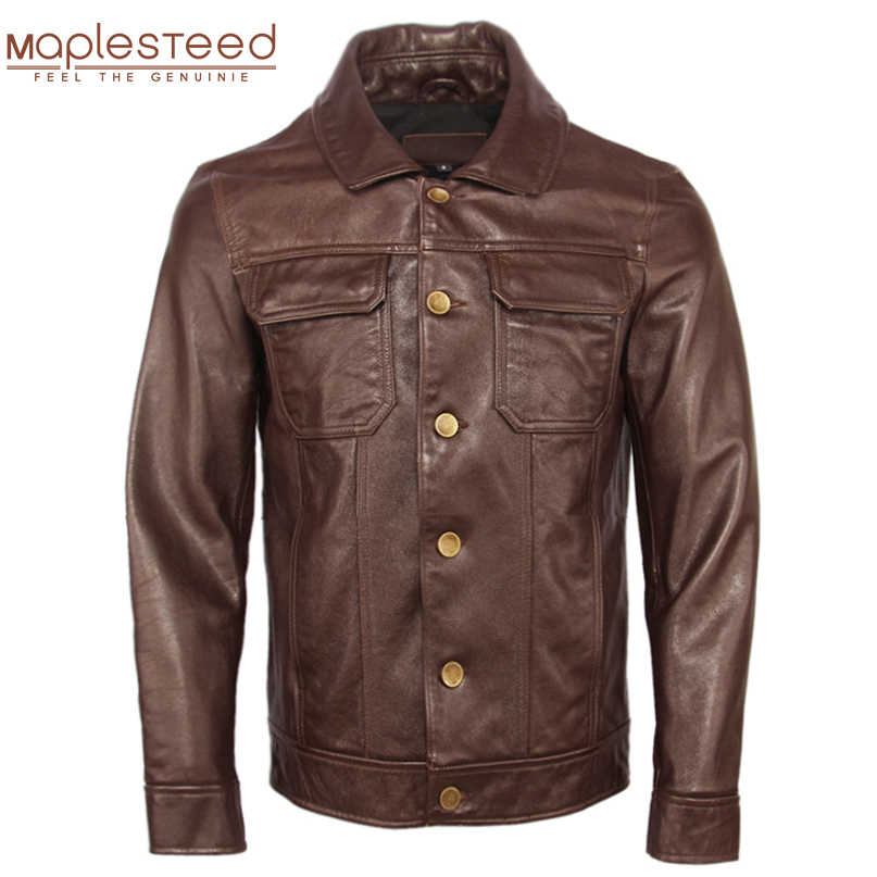 Men Leather Jacket 100% Natural Top Layer Tanned Cowhide Dark Brown Leather Jackets Man Skin Coat Winter Clothing M368