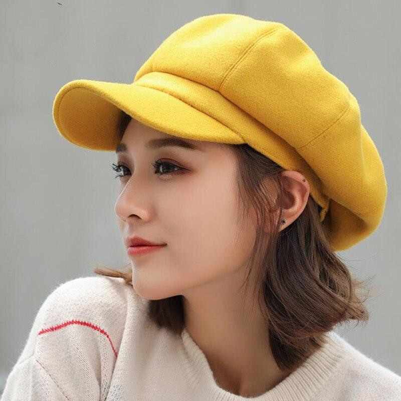 Seioum Auutmn Winter Hats For Women Solid Plain Octagonal Newsboy Cap Men Ladies Casual Wool Hat Winter Beret Women Painter Cap