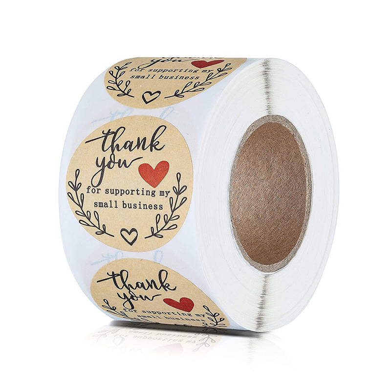 Round Thank You For Ordering Kraft Paper Love Sticker Sticker 500pcs / Roll Wedding Decoration And Office Stationery Sticker