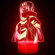 TAKARA TOMY Naruto Uchiha Itachi 3D luz de la noche de luz LED creativo colorido de tres dimensiones pequeña mesa lámpara luz atmosférica