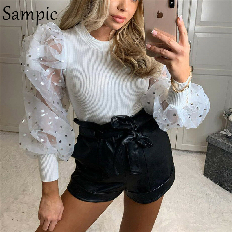 Sampic Women Patchwork Puff Polka Dot Long Sleeve Pullover Pink Knitted Thin Slim Sweater Pink Winter O Neck Crop Sweater