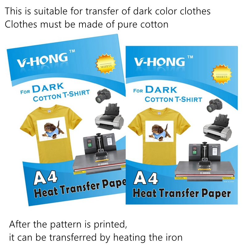 High Quality A4 Paper Cotton Clothes Heat Transfer Pape T Shirt Dark Clothes  Iron Transfer Printing Sublimation Paper