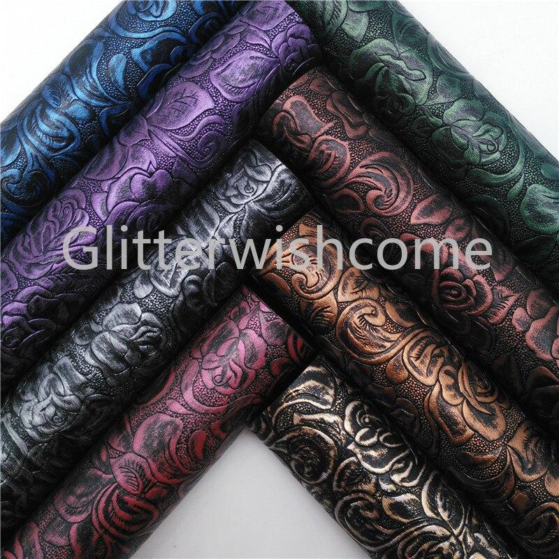 Glitterwishcome 21X29 см A4 размер винил для бантов цветы искусственная кожа, Vintge синтетическая искусственная кожа листы для бантов, GM598A