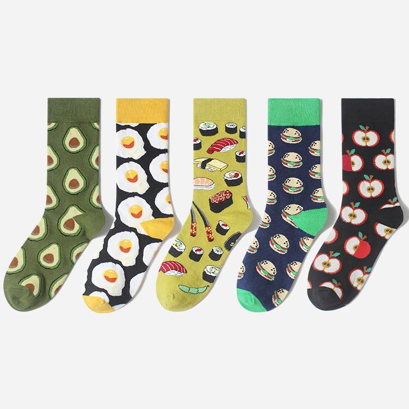 1Pair Male Crew Socks Men Casual Socks Male Cotton Cartoon Food Fruit Apple Egg Creative Funny Cute Cool Unisex Socks Mid Length