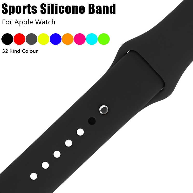 Kolorowe miękkie silikonowe opaska sportowa dla Apple Watch 38mm 42mm pasek do bransoletki na rękę dla Apple Watch Series 3 2 1 iWatch od zegarków