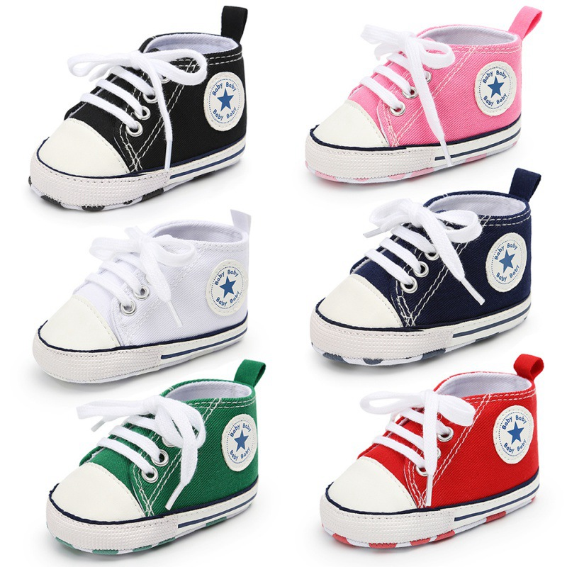 32 Colors 0-18 M Baby Boys Girls Canvas Shoes Infant Fashion Star Shoes Newborn Soft Bottom Shoes First Walk Sneakers