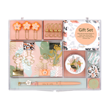Leopard Stationery Gift Set Creative Office Supplies Collector Pen, Washi Tape, Binder Clips, Memo Note Cube Office Value Pack
