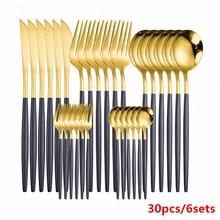 New Gold Dinnerware Fork Spoon Knife Set Black Stainless Steel Tableware Western Christmas Gift Kitchen Cutlery Set