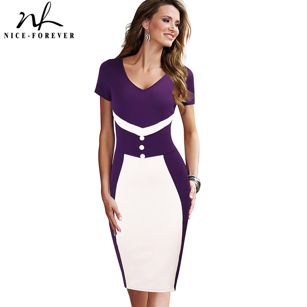 Nice-forever Elegant Vintage Color Block Office Work Vestidos Business Bodycon Women Pencil Dress BtyB321