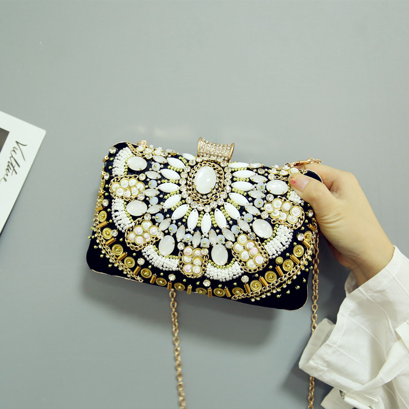 Bag Women's 2018 New Style Nation Style Banquet Evening Bag Retro Black And White with Pattern Small Square Crossbody Bag Aristo