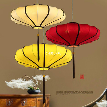 Chinese Pendant Lamp Modern creative tea house classical lamp Chinese Red Lantern antique cloth Chandelier