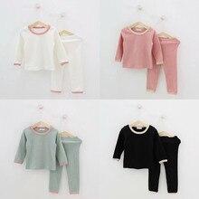 Kid Ribbed Pajamas Set Girls PJS Top and Pant Unisex Soft Ko