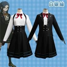 Anime Danganronpa V3 Shirogane Tsumugi Cosplay kostium w stylu lolity płaszcz + koszula + spódnica Halloween boże narodzenie kostium imprezowy jednolite