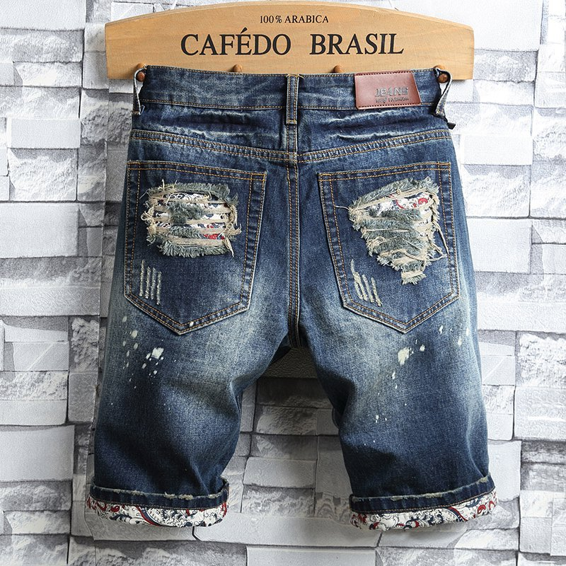 Cowboy Summer Four Points 5 Points Korean-style Shorts Man BOY'S Ban Ku Shorts Trend With Holes Buff Slim Fit