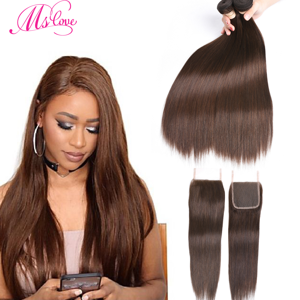 Straight Human Hair Bundles With Closure Brazilian Brown Bundles With Closure Non Remy #2 #4 #1 Jet Black Mslove
